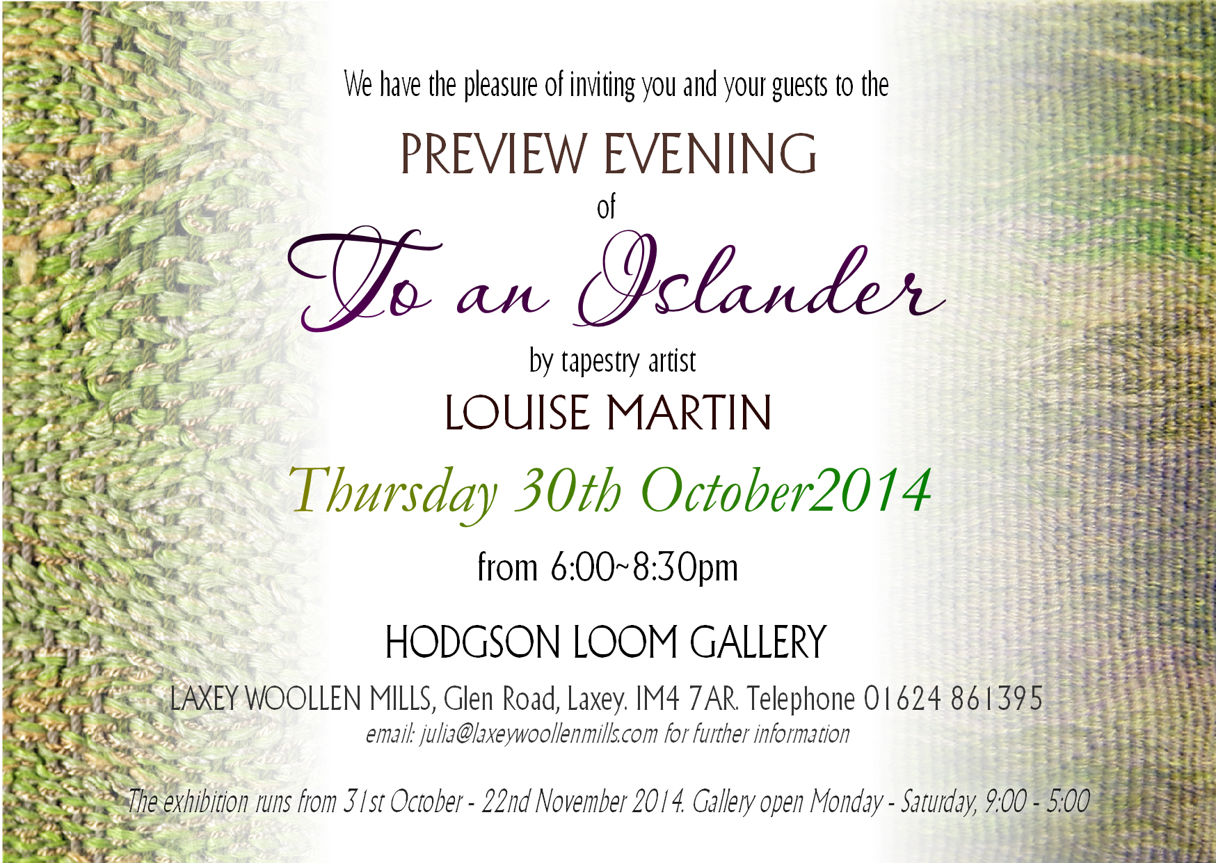 Louise Martin exhibition in Laxey, Isle of Man